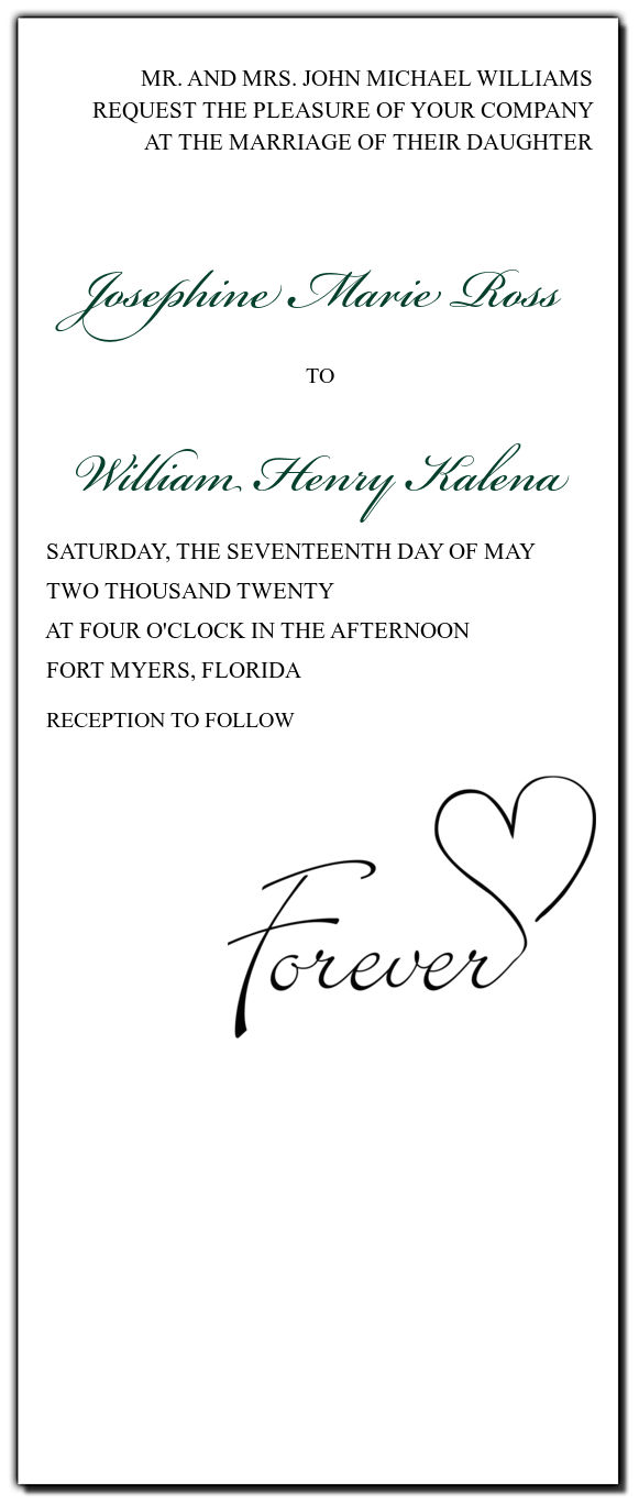 Custom Forever Swirly Tea-Length Wedding Invitation personalize with ...